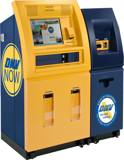 Yellow and blue California DMV Now self-service registration renewal kiosk